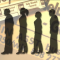 Silouettes of men and women standing in a line, with the newspaper headlines of unemployment in the backround.