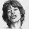 A pencil sketch of a young Mick Jagger.